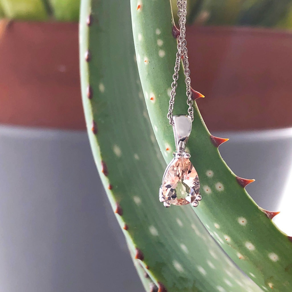 Solid Bale Double Claw Morganite Pear Shaped Pendant