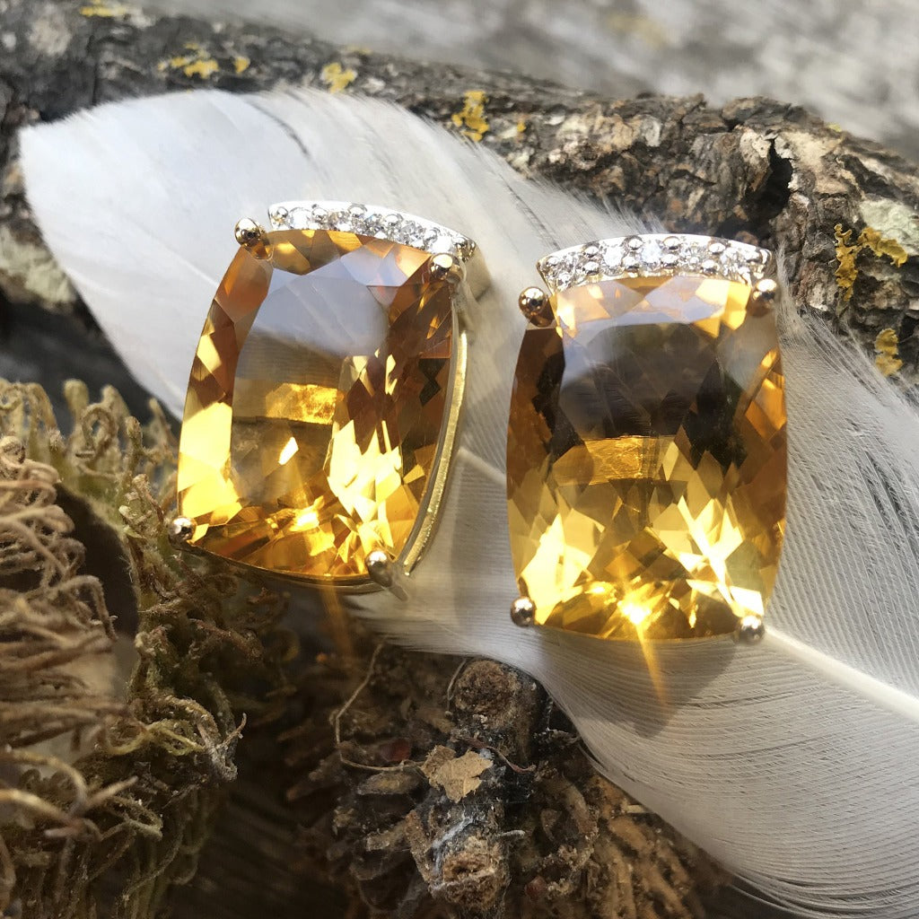Cushion Cut Citrine and Diamond Earrings