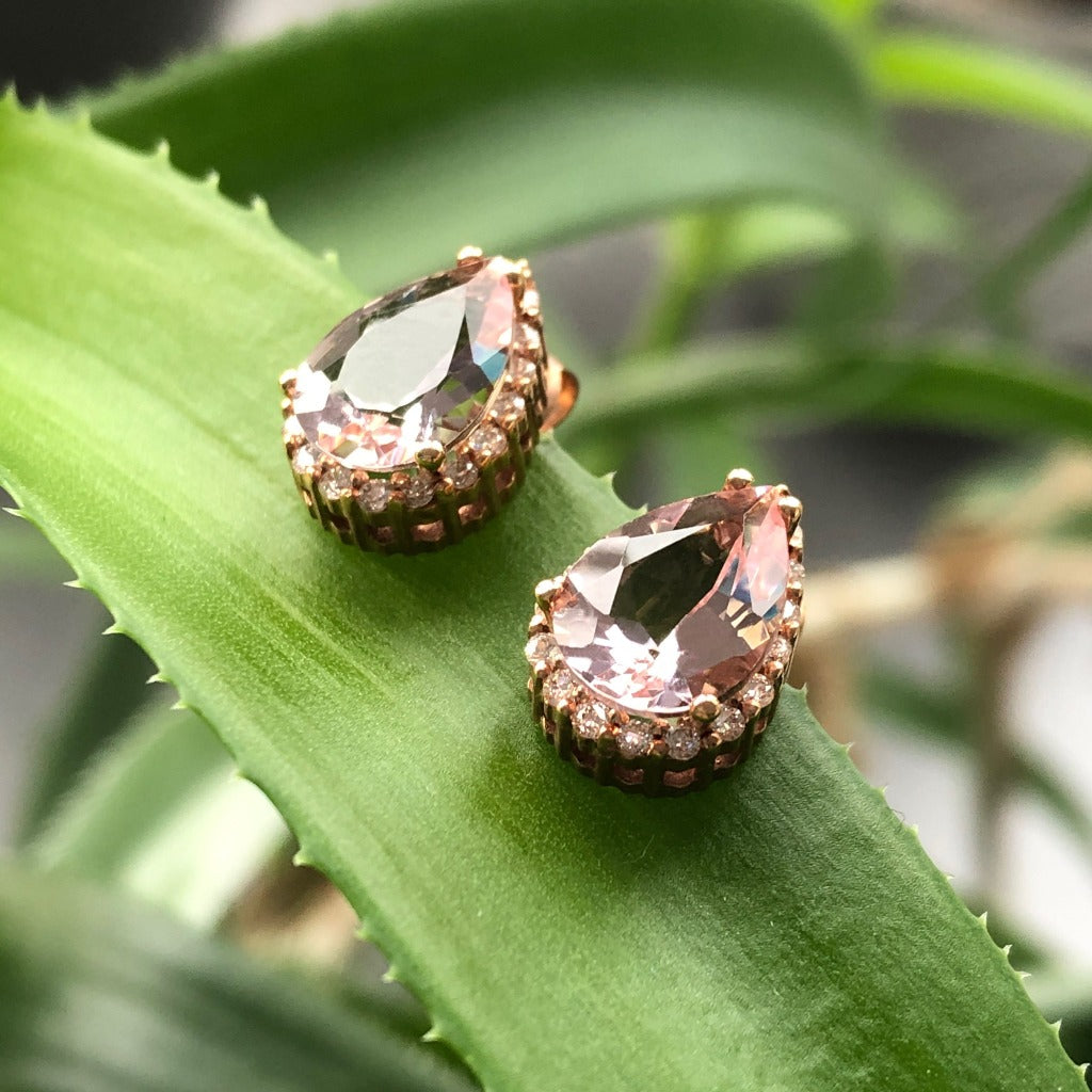 Rose Gold Pear Cut Pink Morganite and Diamond Halo Earrings