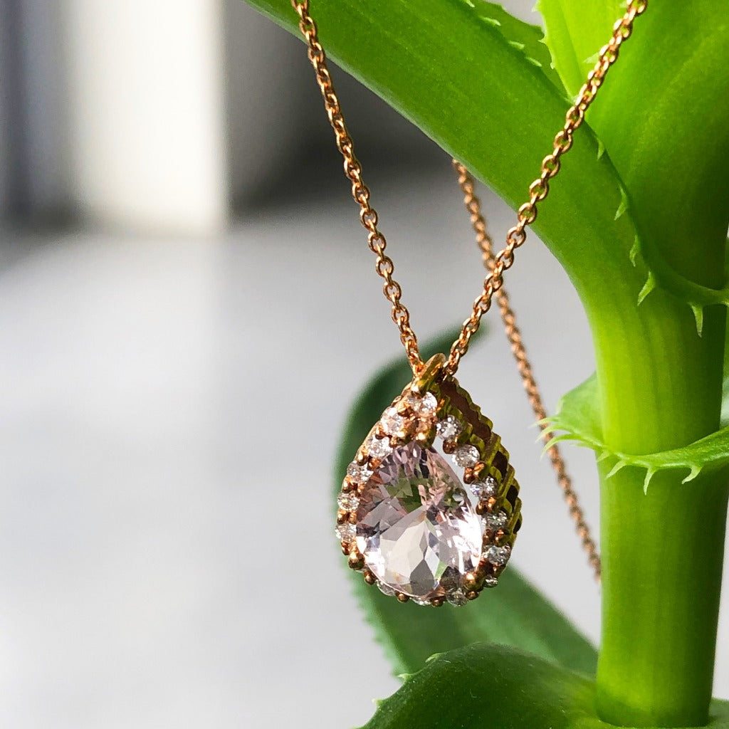 Rose Gold Pear Cut Pink Morganite and Diamond Halo Pendant