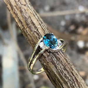 Oval London Blue and Diamond Ring