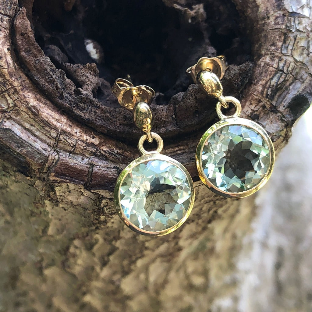 Round Cut Green Amethyst and Yellow Gold Earrings