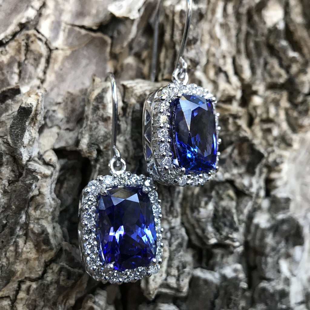 Cushion Cut Tanzanite Earrings with Diamond Halo