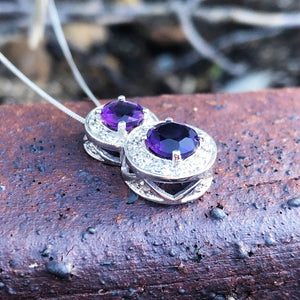 Double Amethyst and Diamond Halo pendant