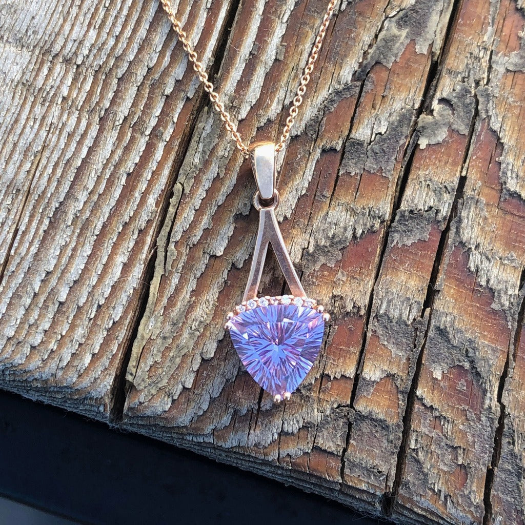 Trilliant Cut Amethyst, Diamond and Rose Gold Pendant