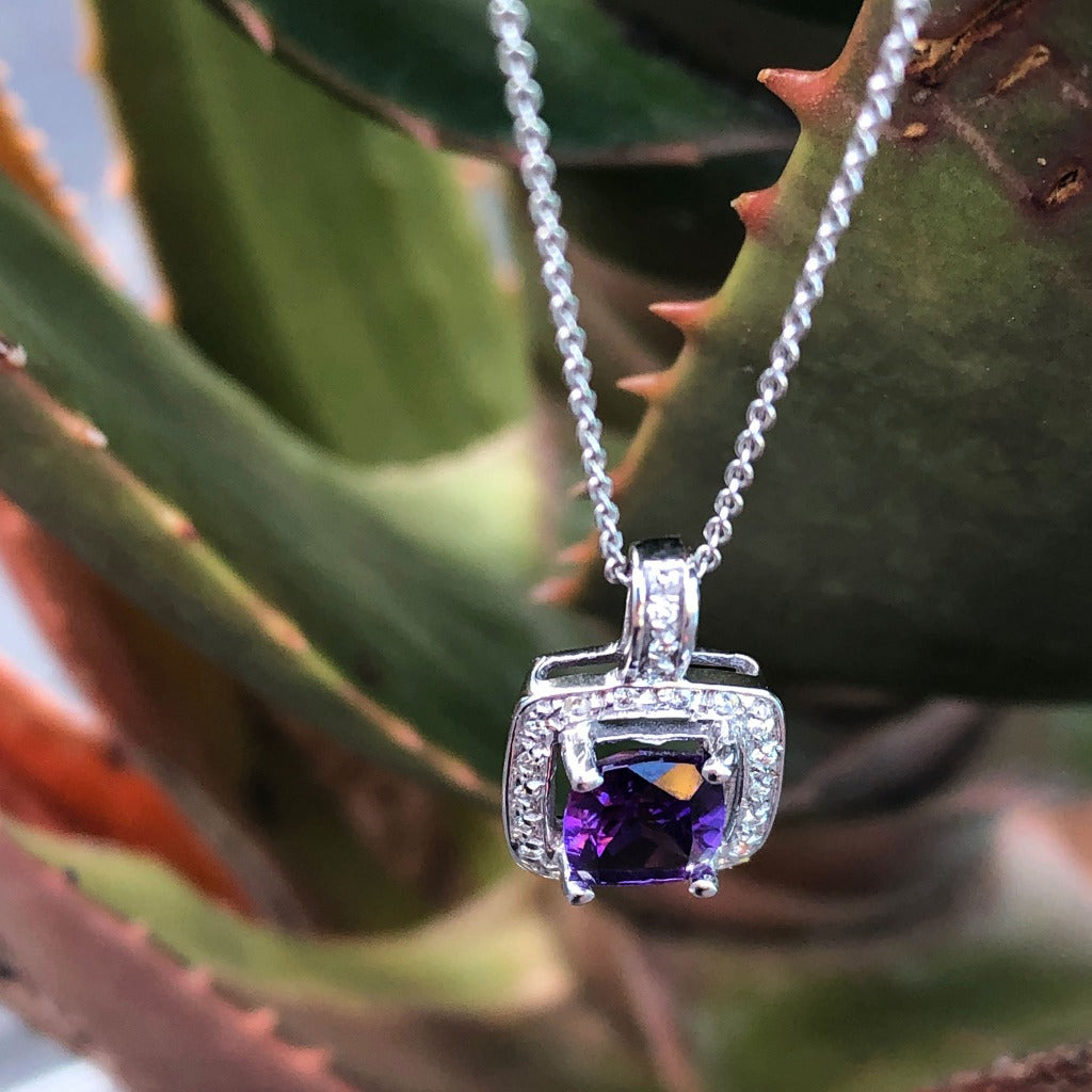 Amethyst Cushion Cut and Diamond Halo Pendant