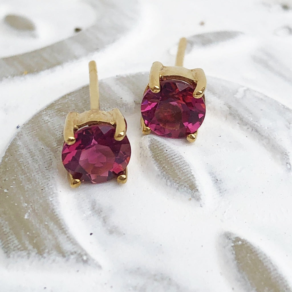 Pink Tourmaline Yellow Gold Studs
