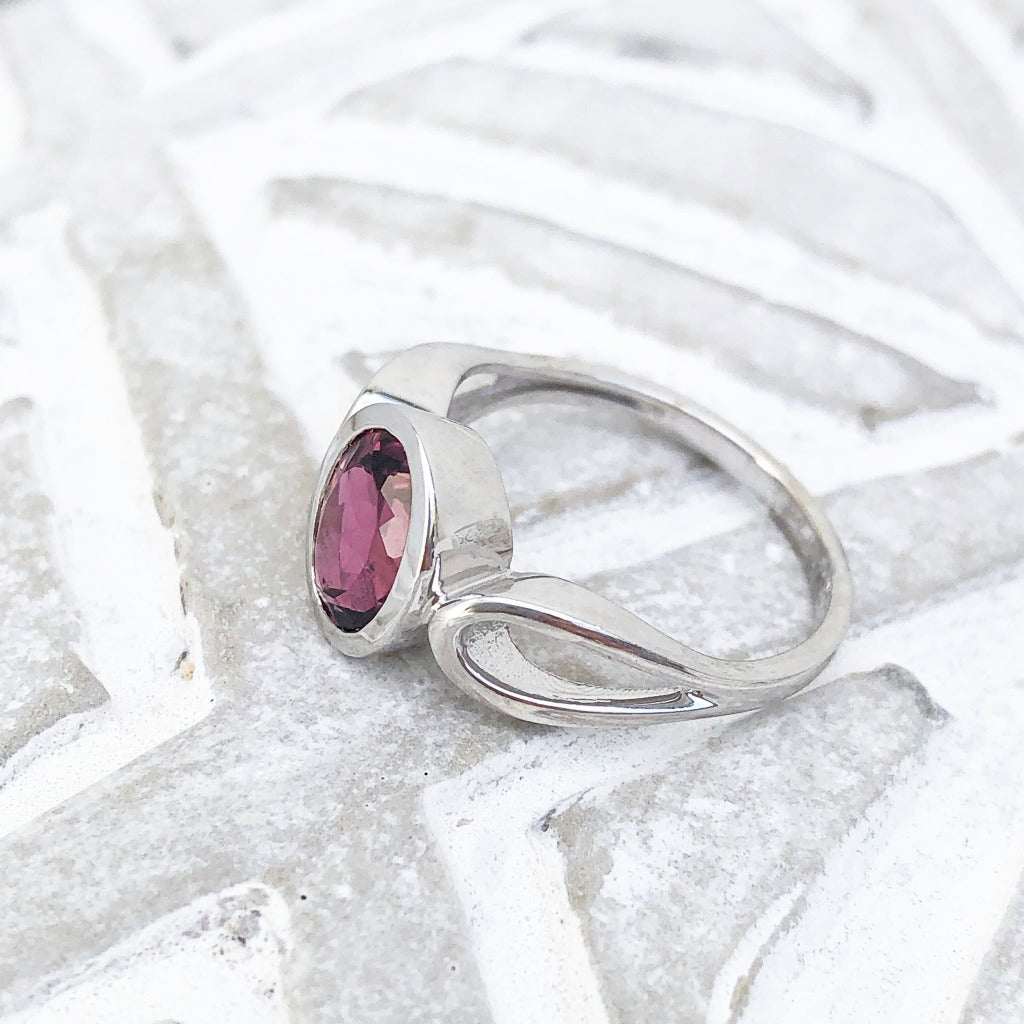 Oval Cut Pink Tourmaline and White Gold Ring
