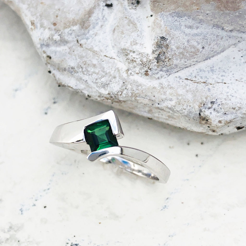 Green Square Cut Tourmaline and White Gold Ring