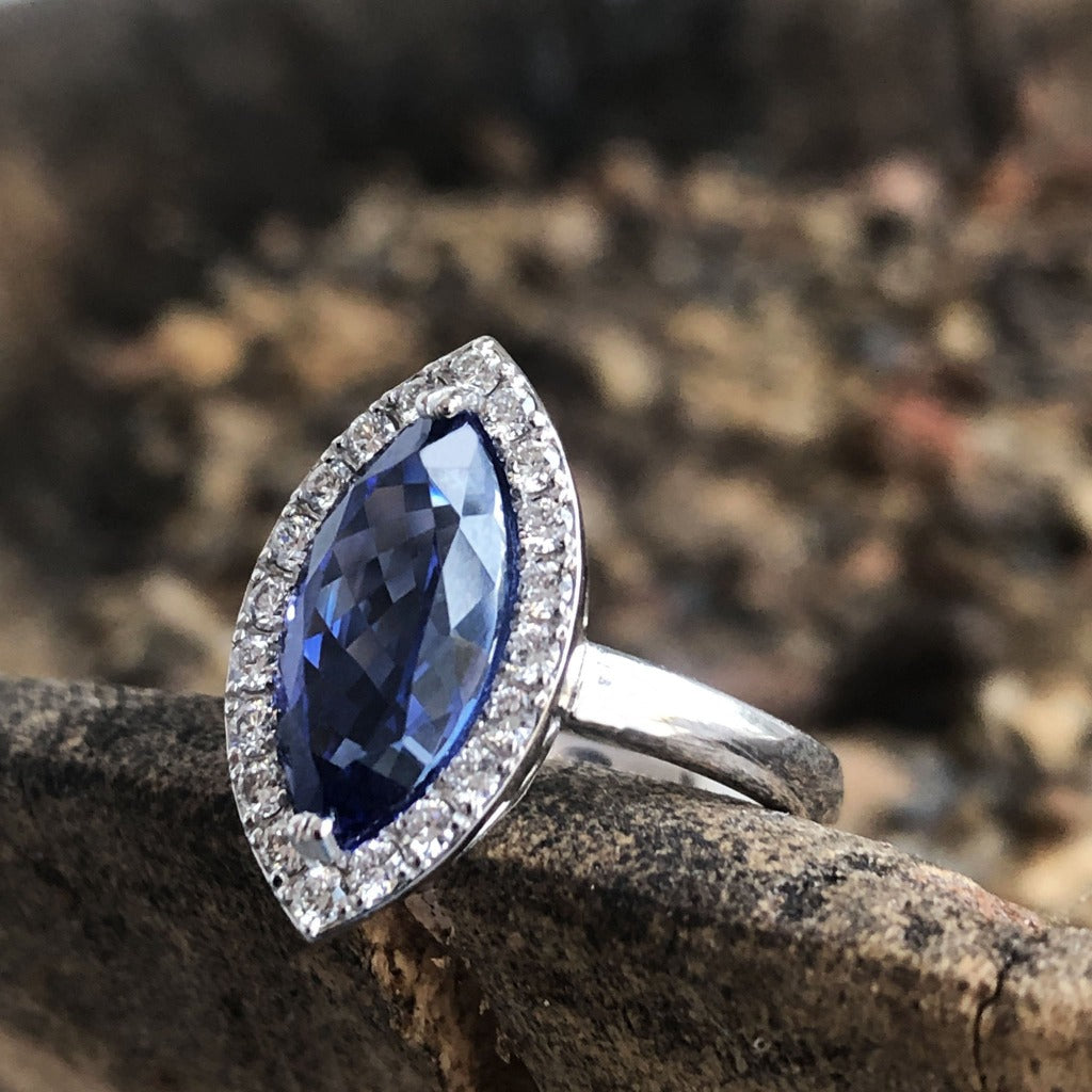 Marquise Cut Tanzanite and Diamond Halo Ring