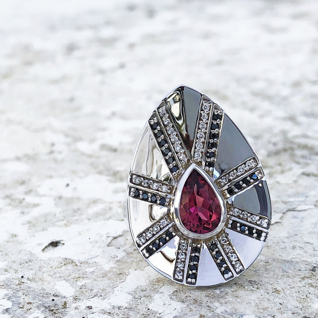 Pink Tourmaline and Diamond Zulu Shield Ring