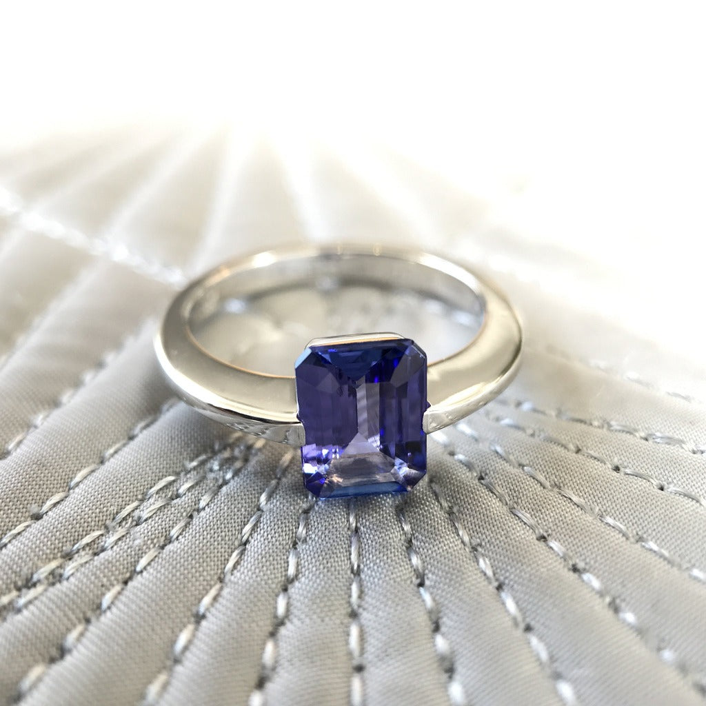 Octagonal Cut Tanzanite Ring