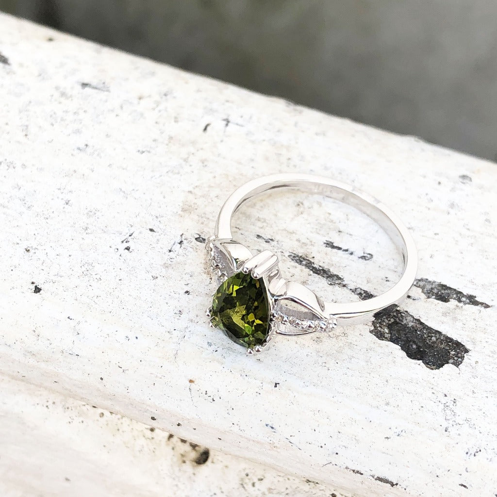 Pear Cut Green Tourmaline and Diamond Open Shoulder Ring