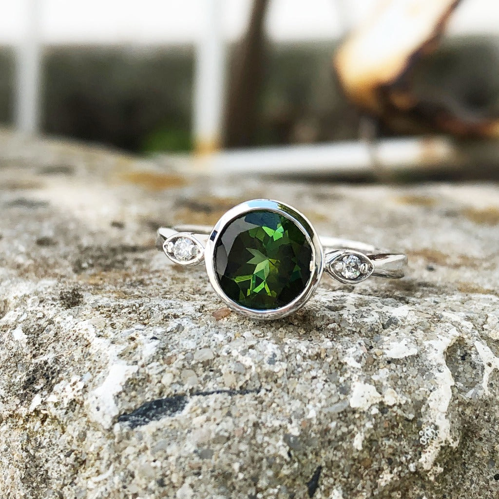 Round Cut Green Tourmaline with Petite Diamond Accent Ring