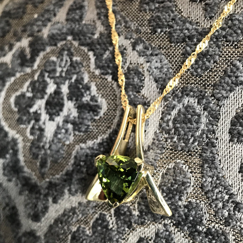 Trilliant Cut Green Tourmaline and Gold Pendant