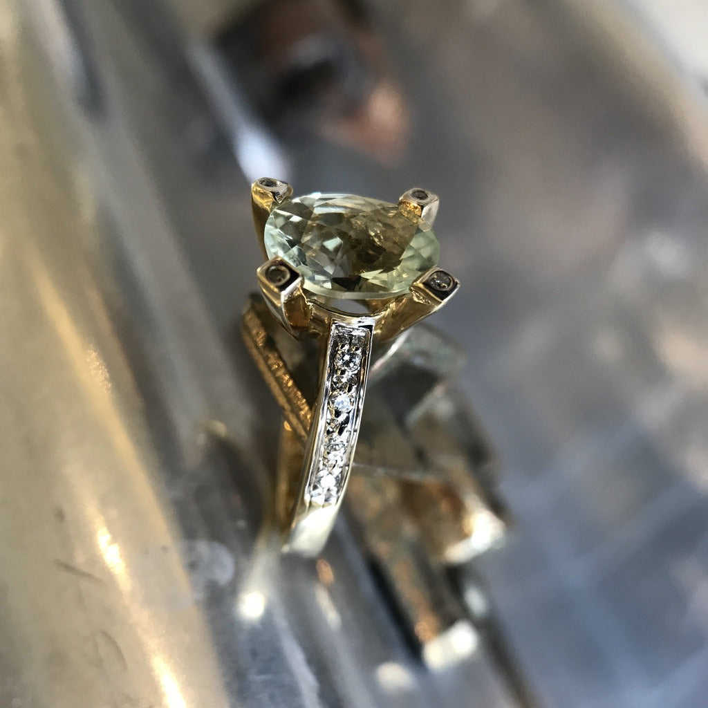 Oval Cut Green Amethyst and Diamond Ring