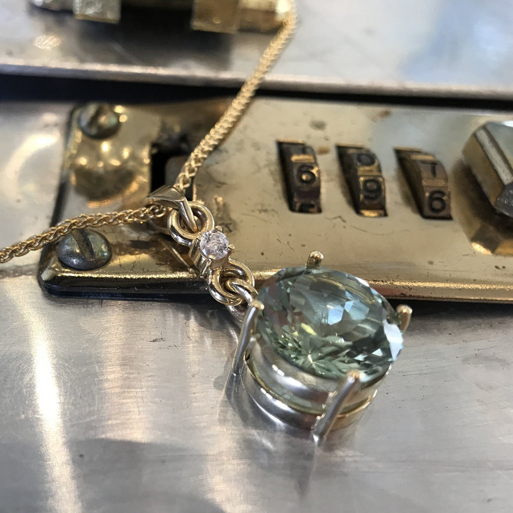 Round Cut, Green Amethyst, Diamond and Gold Pendant