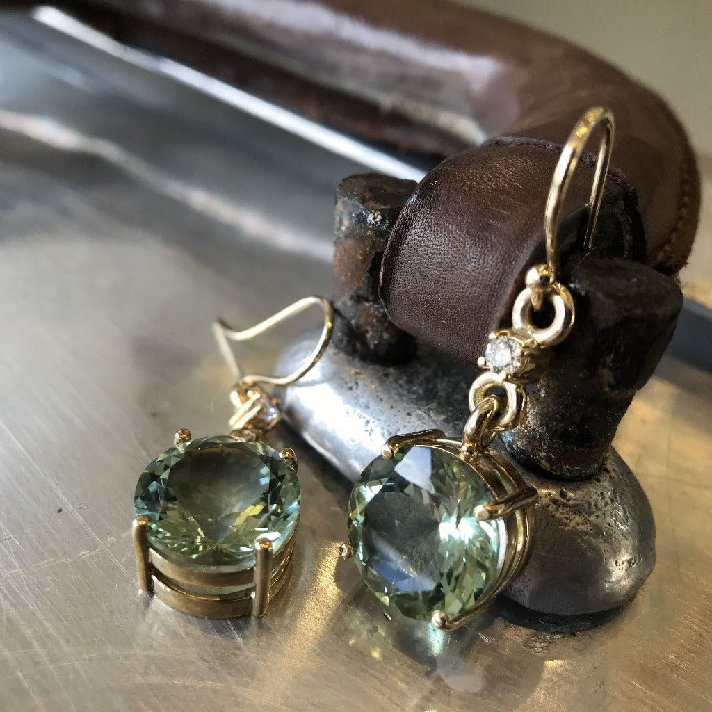 Round Cut Green Amethyst, Diamond Yellow Gold Earrings