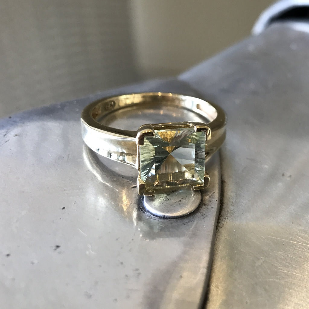 Square Cut Green Amethyst and Yellow Gold Ring
