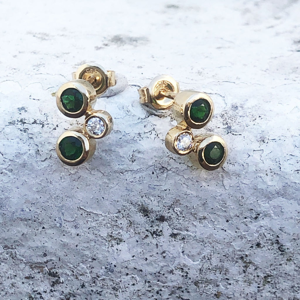Yellow Gold Round Drop Green Tourmaline and Diamond Earrings