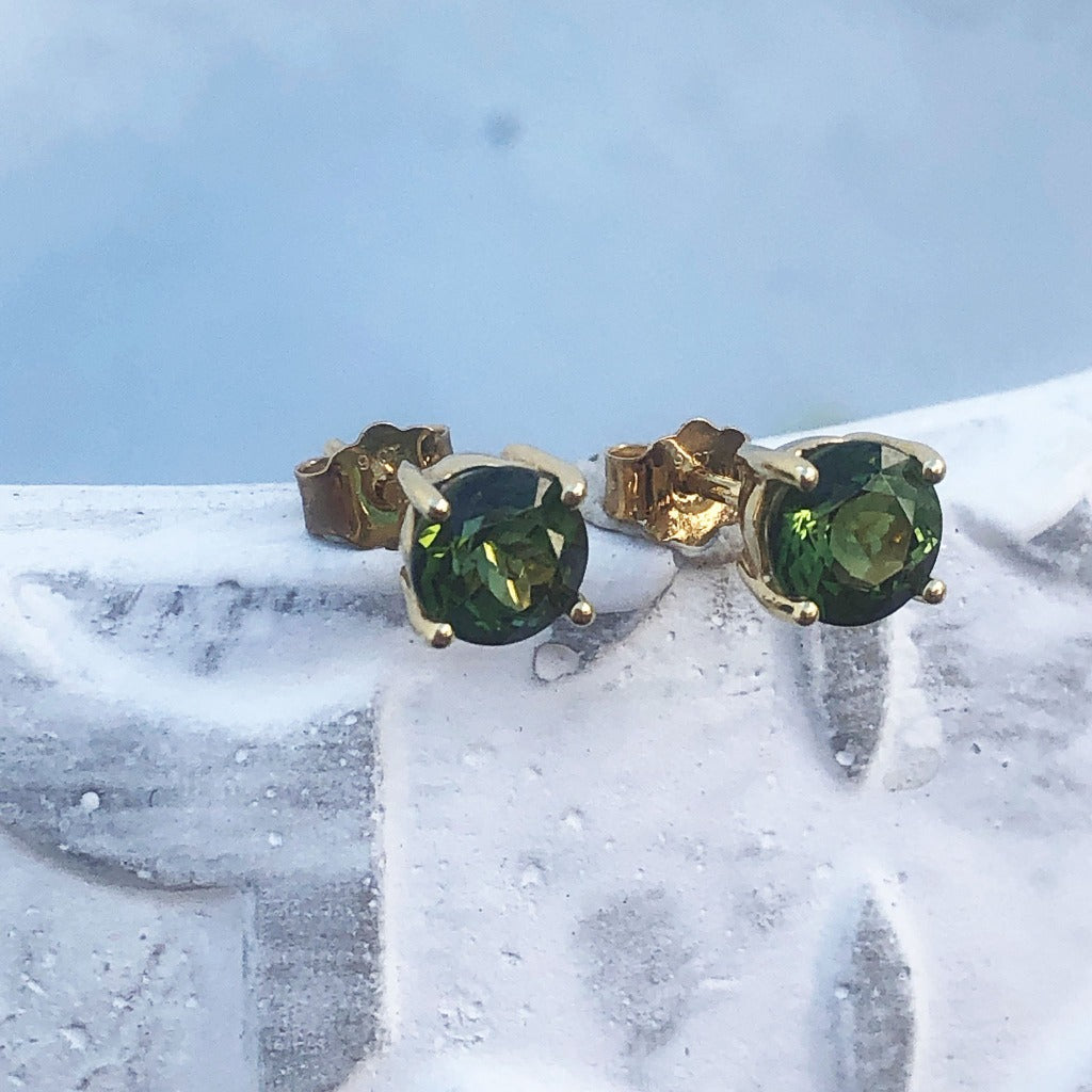 Four Claw Green Tourmaline and Yellow Gold Studs