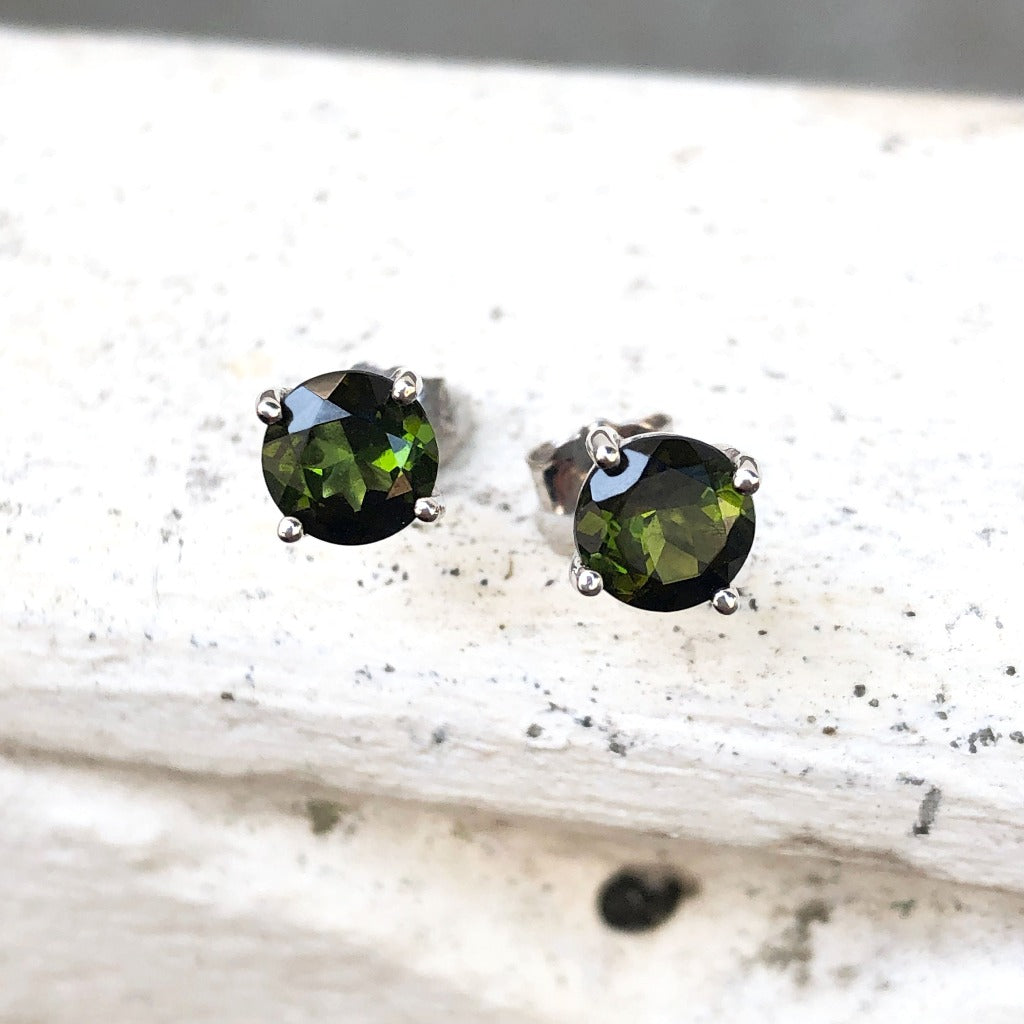 9ct Green Tourmaline and White Gold Studs