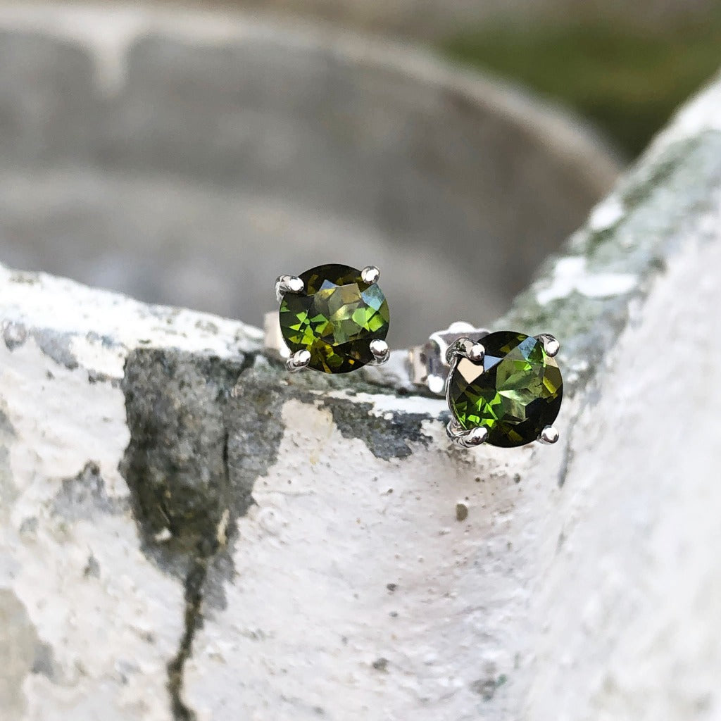 18ct Green Tourmaline and White Gold Studs