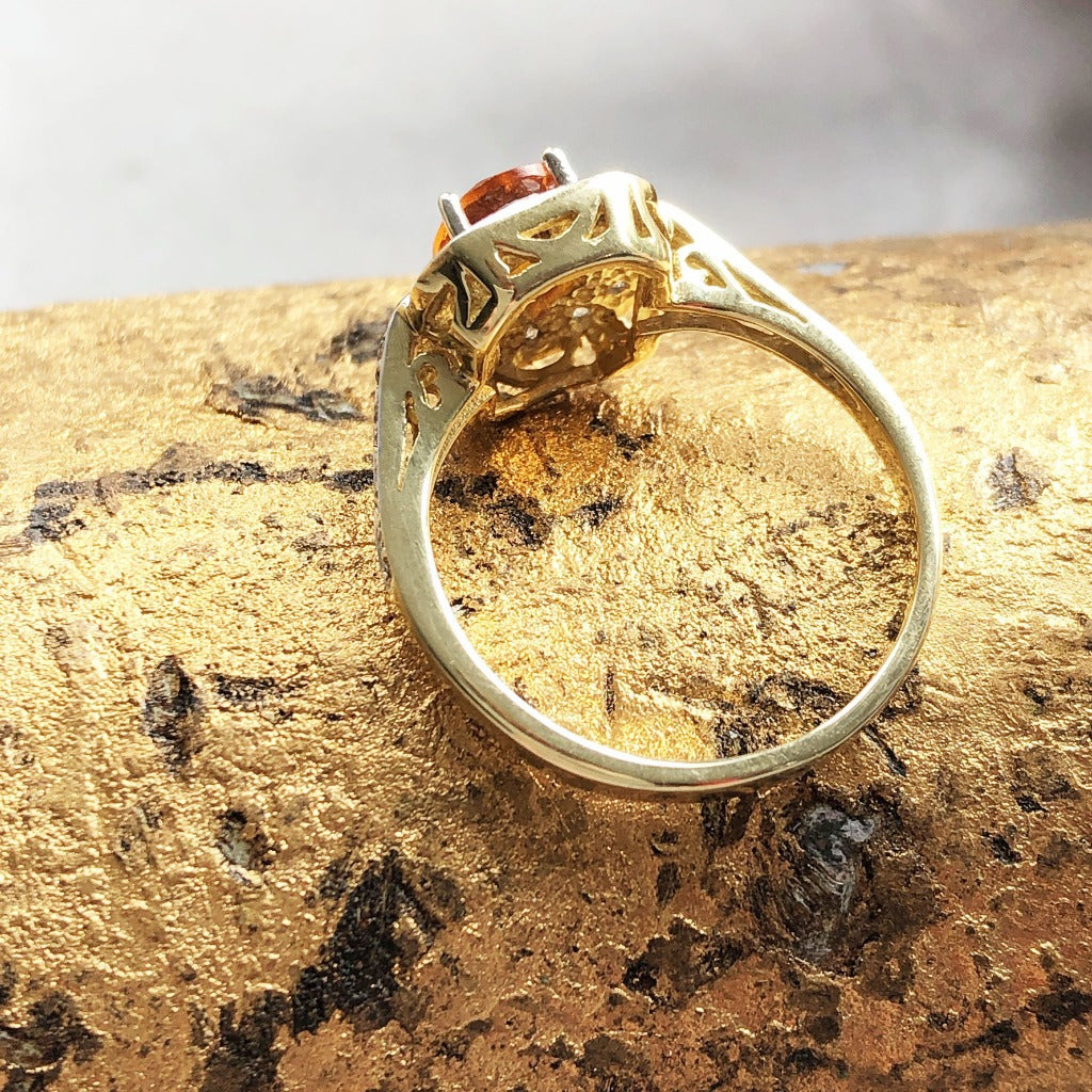 Oval Citrine With Square Diamond Halo and Shank Detail Ring