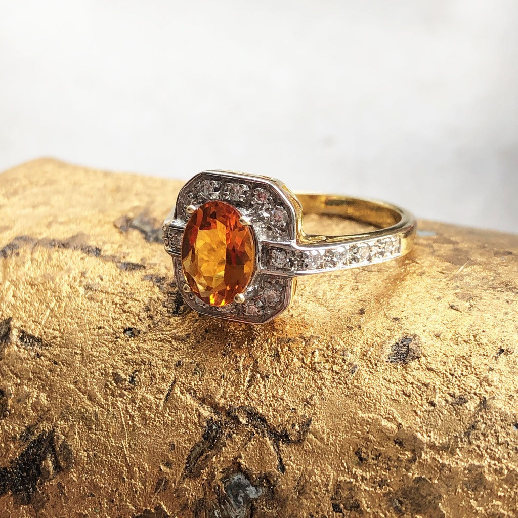Oval Citrine With Square Diamond Halo and Shank Detail