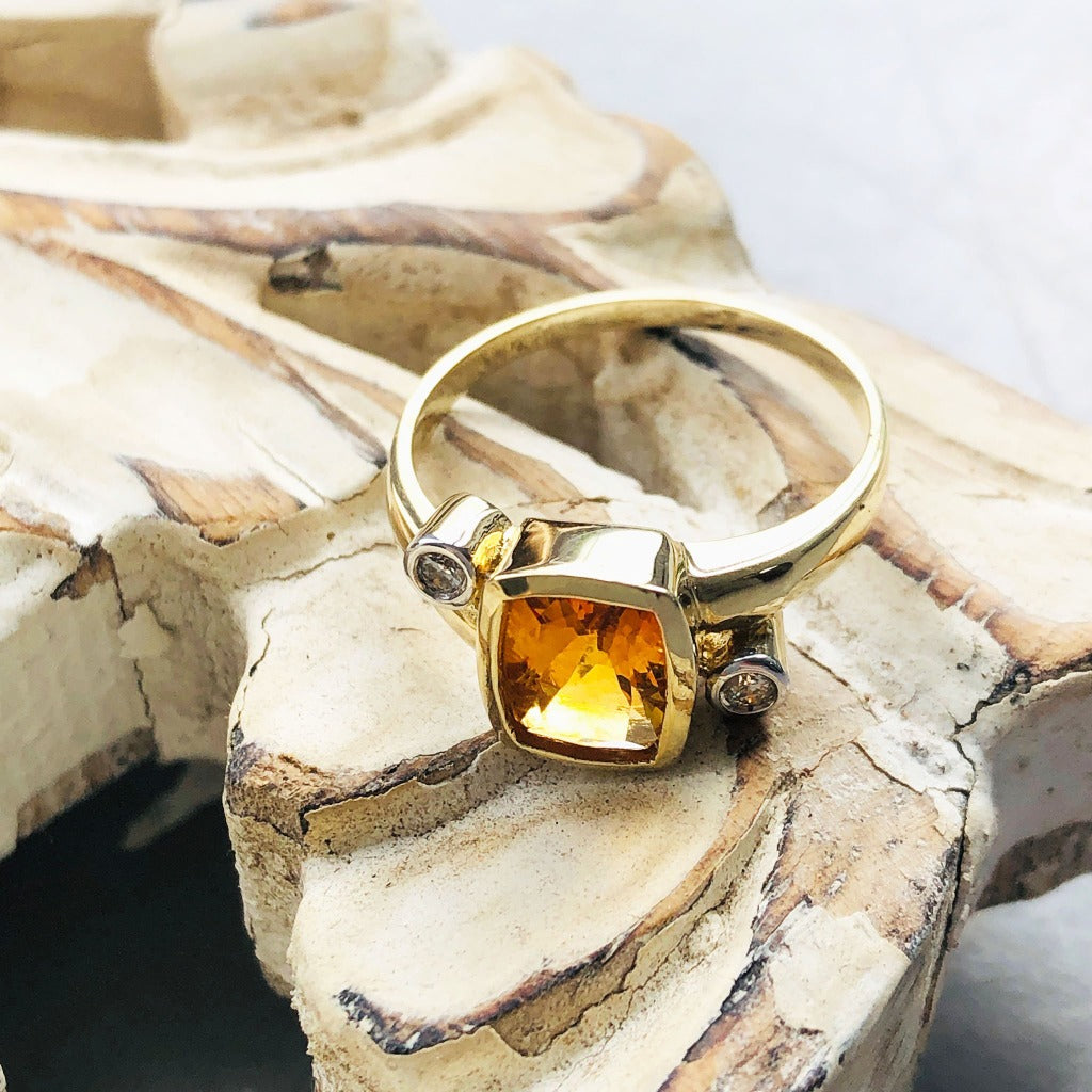 Cushion Cut Citrine with Tube Set Diamond Accents Ring