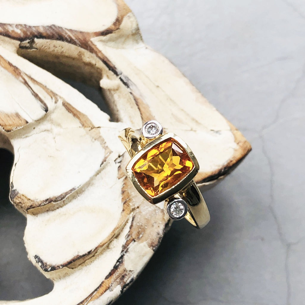 Cushion Cut Citrine with Tube Set Diamond Accents