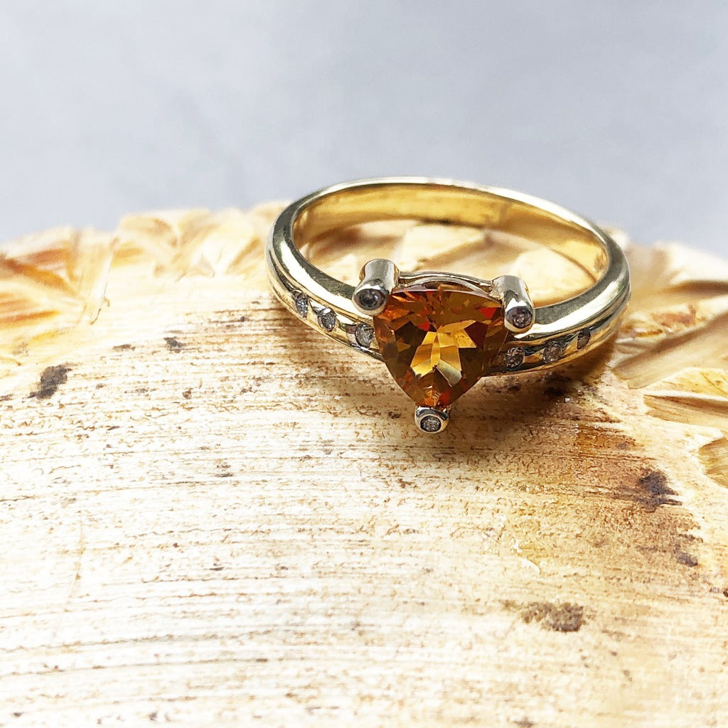 Trilliant Cut Citrine with Diamond Point Accents