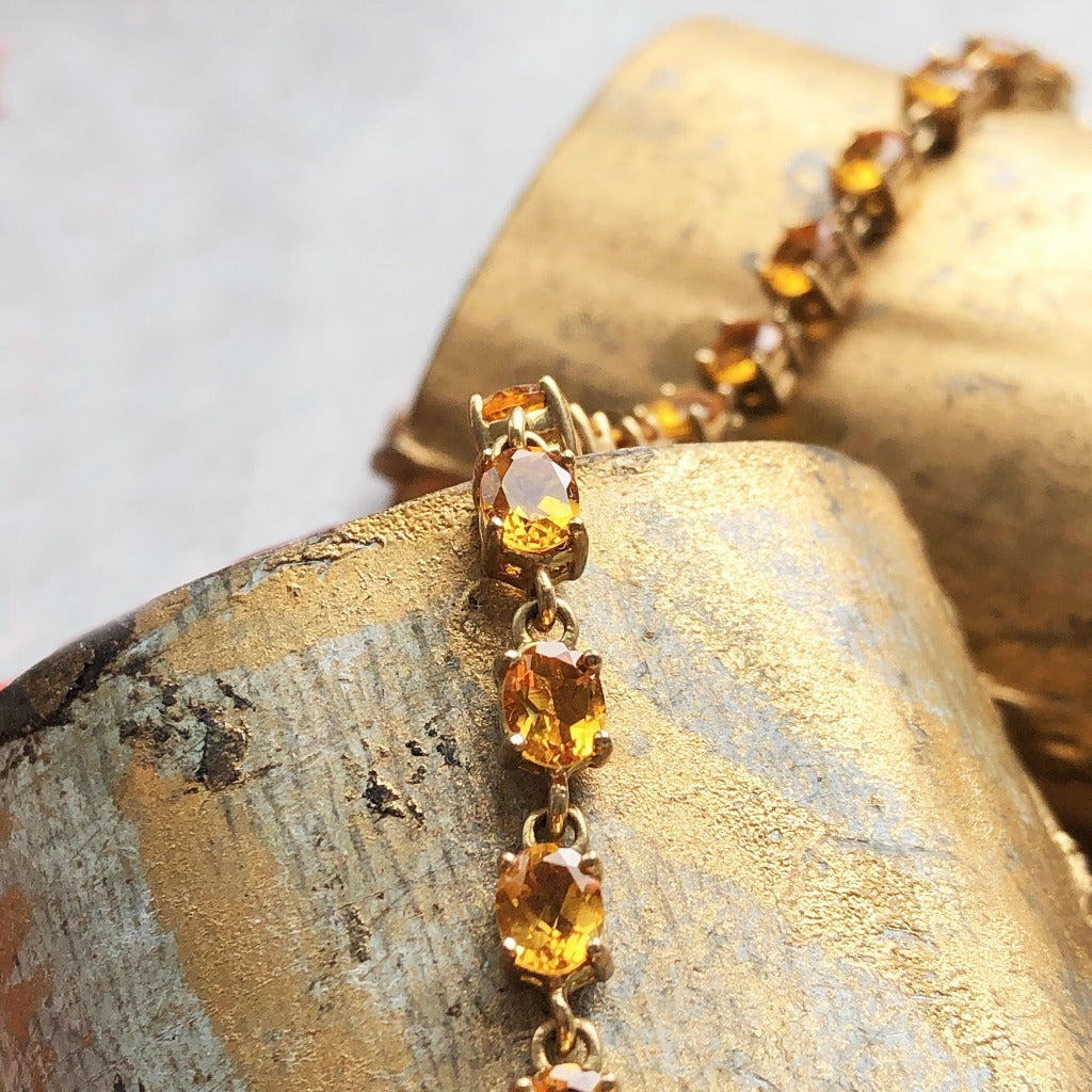 Oval Cut Citrine Tennis Bracelet