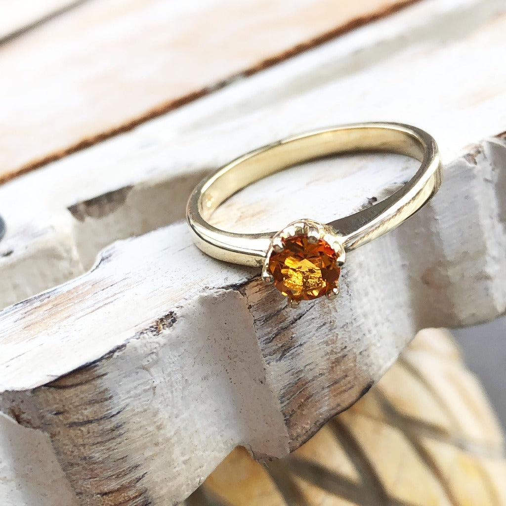 Petite Round Cut Citrine Yellow Gold Ring