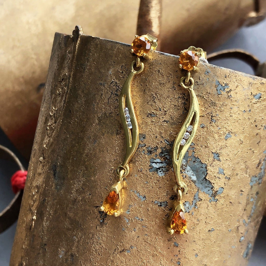 Mixed Shape Citrine and Diamond Drop Earrings