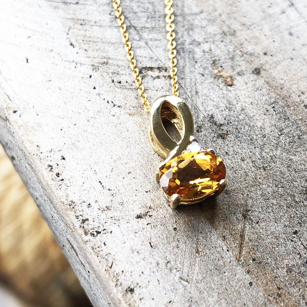 Half Bow Bale Citrine and Diamond Pendant