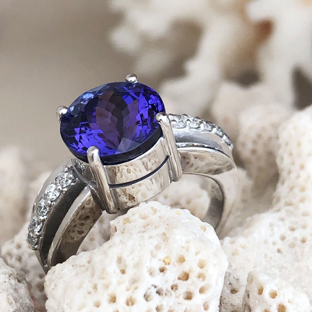 Handcrafted Tanzanite and Diamond Triple Split Shank Ring