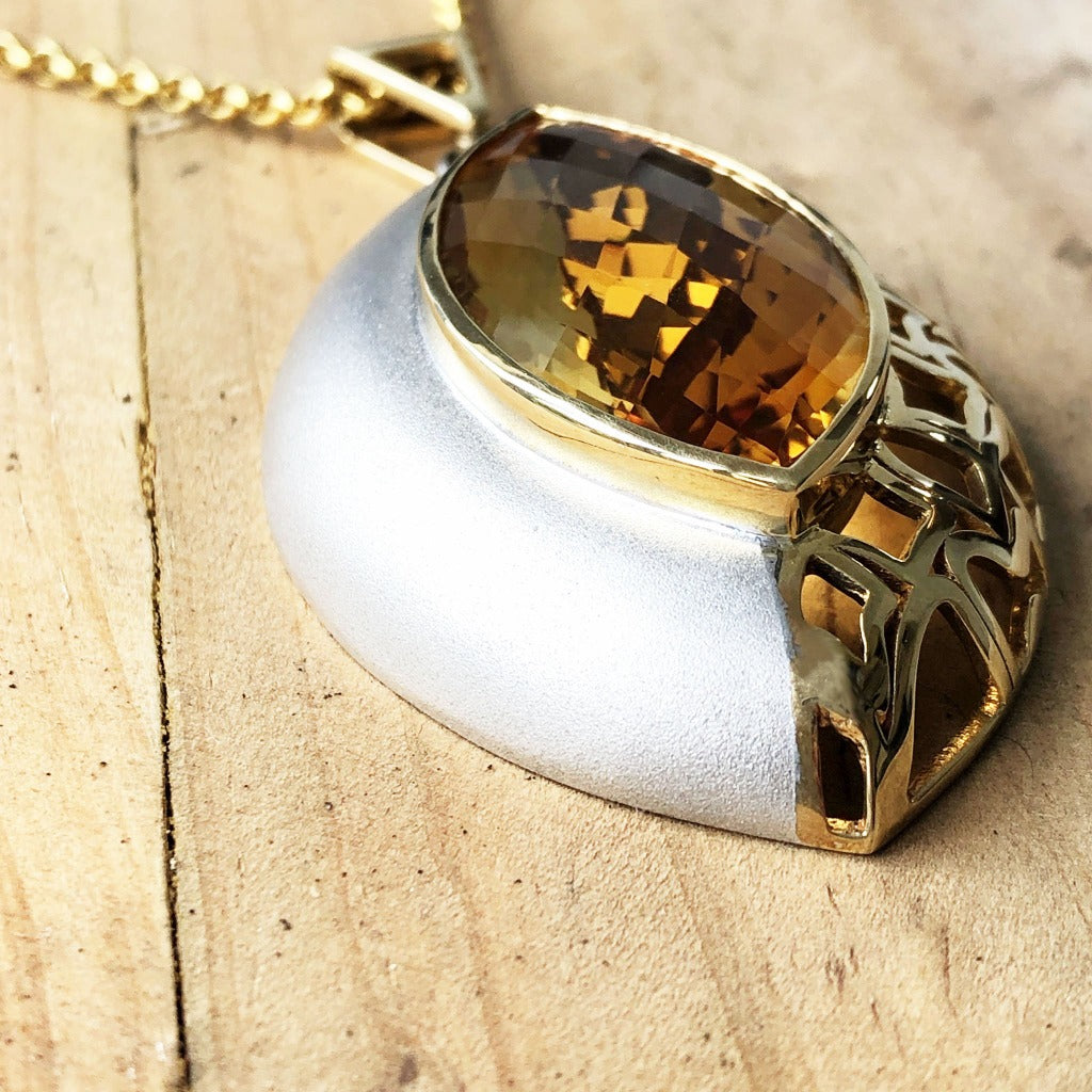 Yellow Gold and Silver Marquise Cut Citrine Pendant