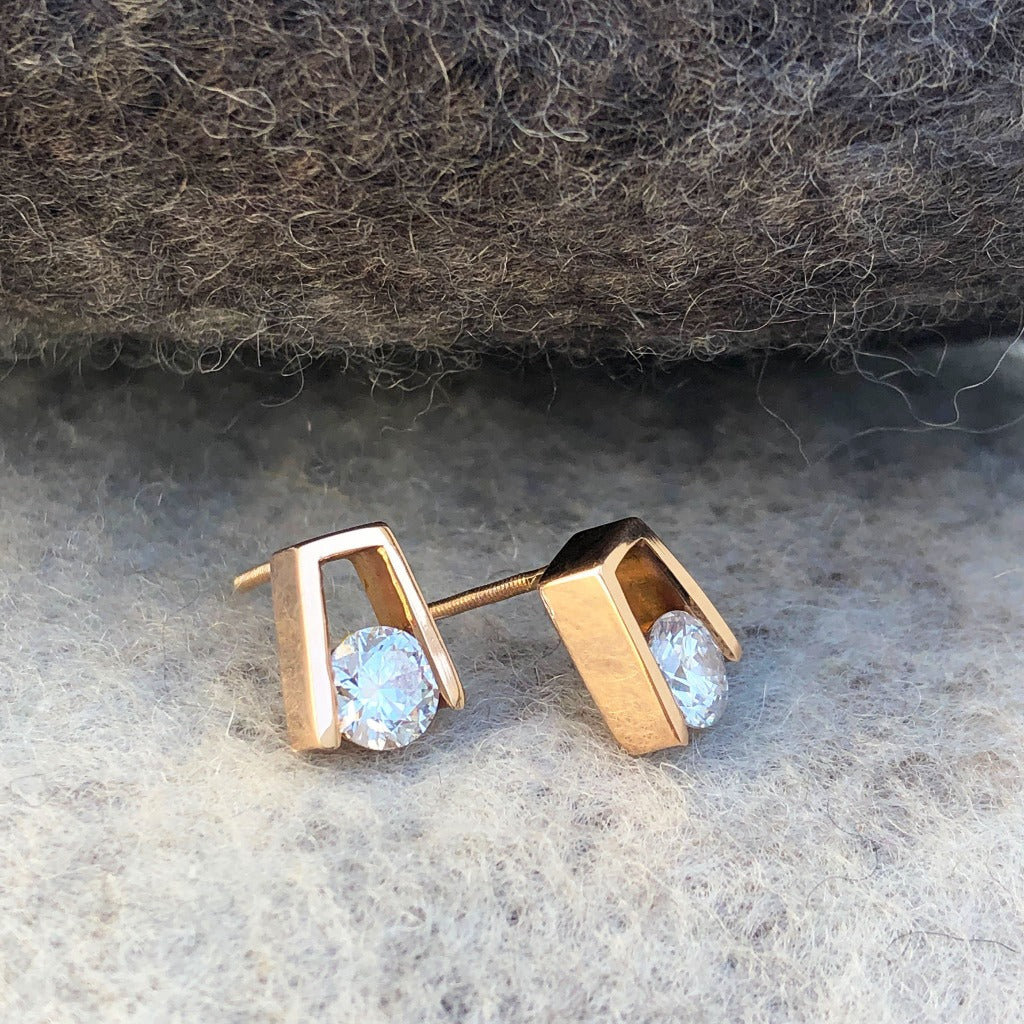 Rose Gold and Round Cut White Diamond Earrings