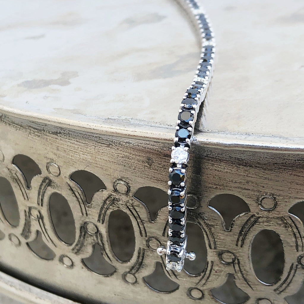 Black and White Diamond Tennis Bracelet