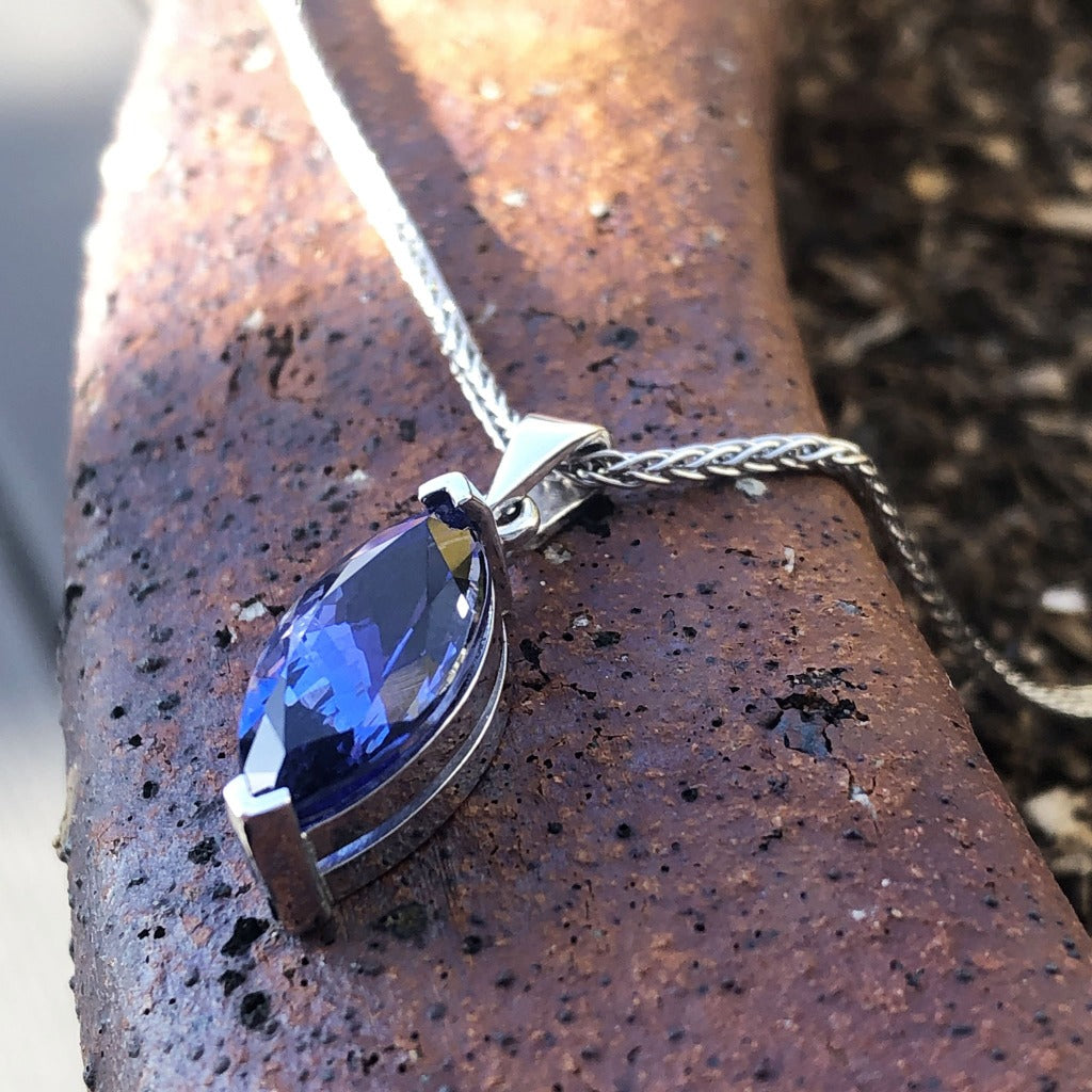 Handcrafted Marquise Cut Tanzanite Pendant