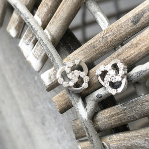 Three Interlaced Circle Diamond Accent Earrings