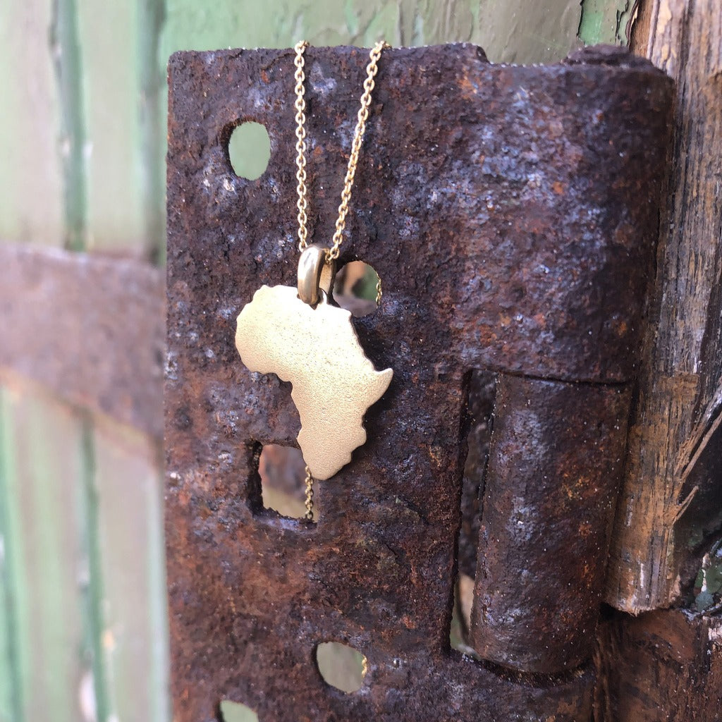 Hammered Gold Africa Pendant