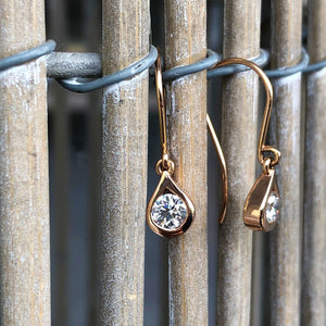 Droplet Rose Gold and White Diamond Earrings