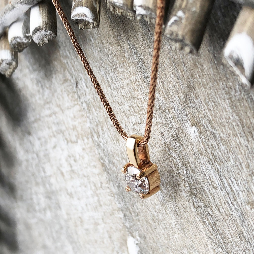 Handcrafted Delicate Diamond Rose Gold Pendant