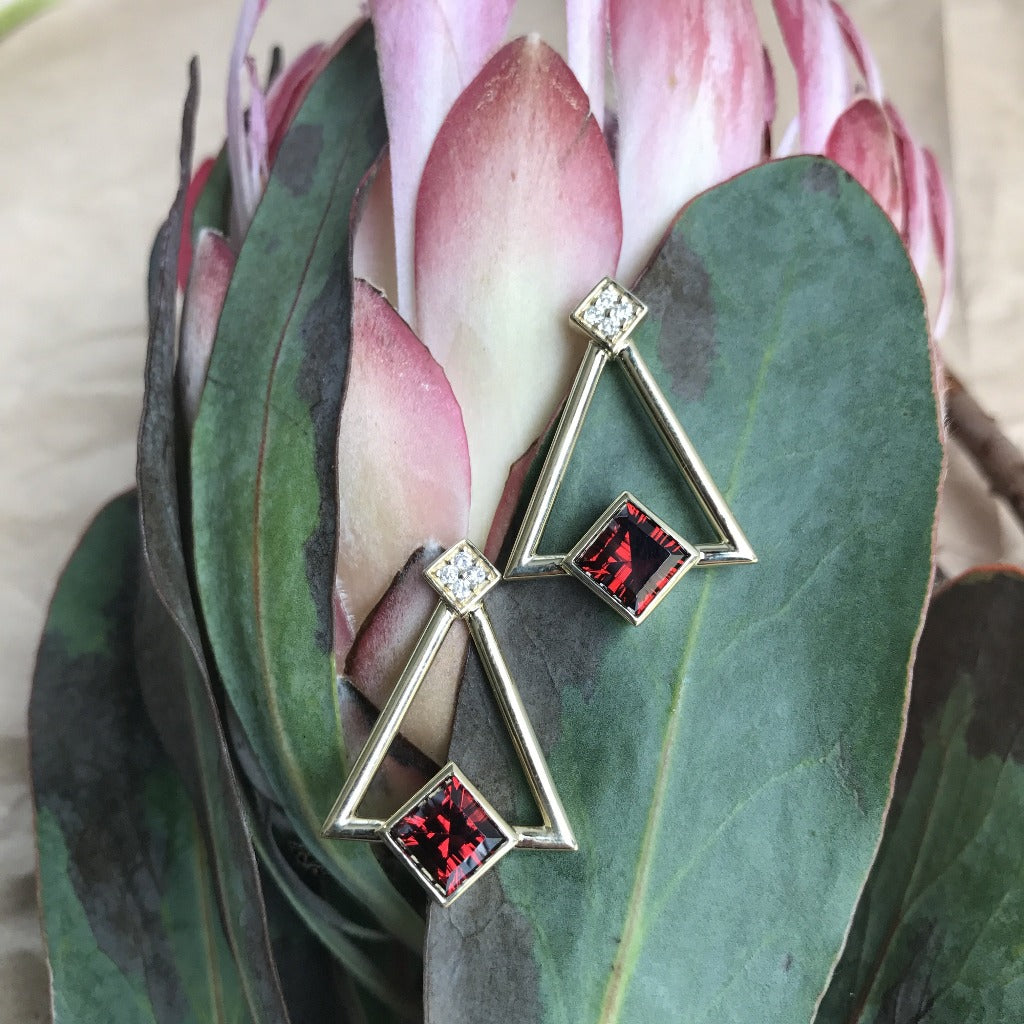 Square Cut Garnet and Gold Drop Earrings
