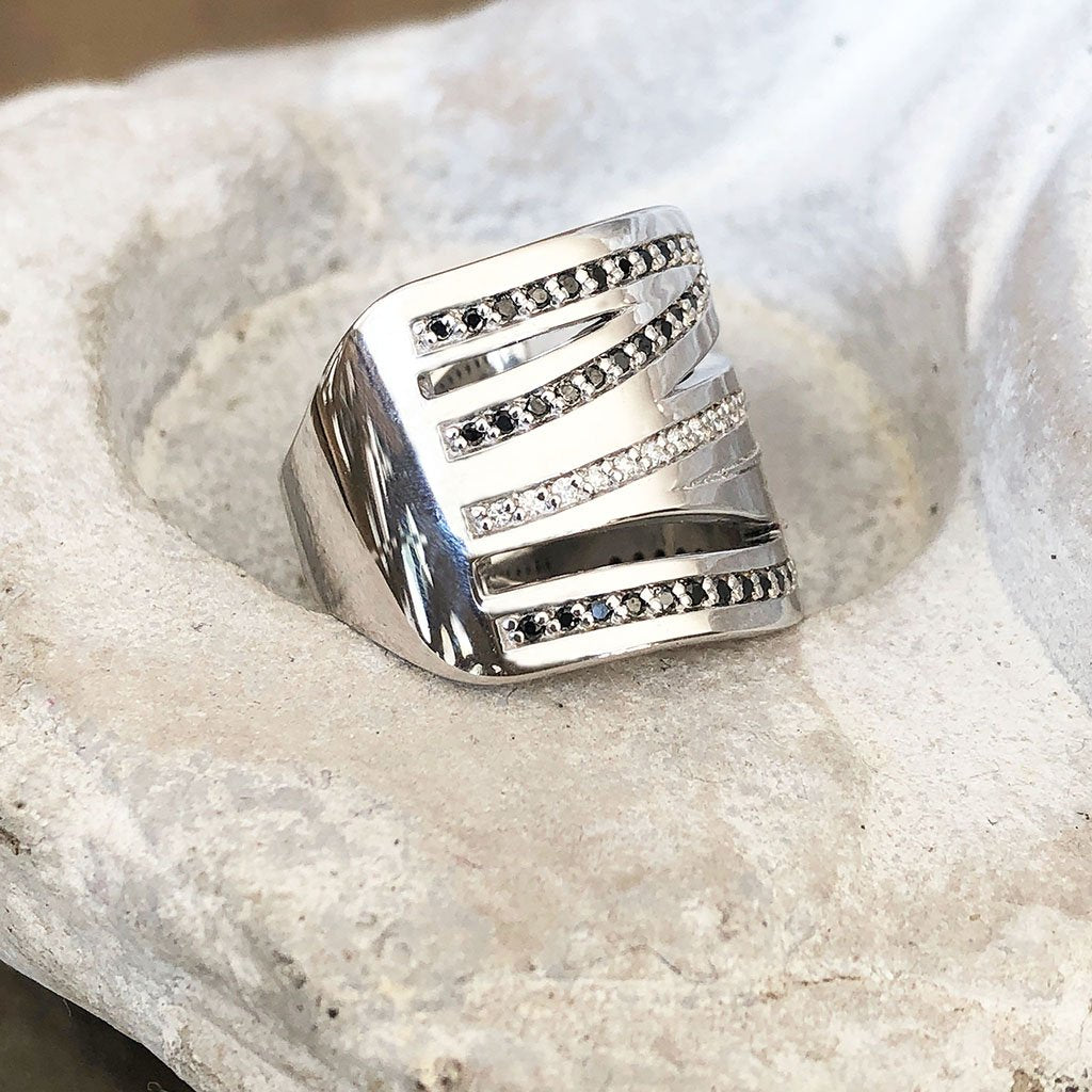 Black and White Diamond Zebra Ring