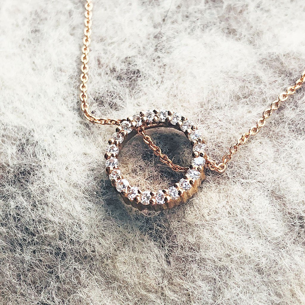Rose Gold and White Diamond Halo Pendant