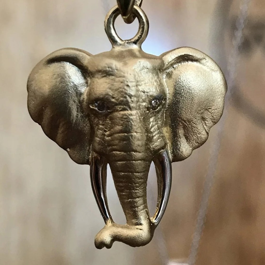 Two-tone Gold Elephant Pendant
