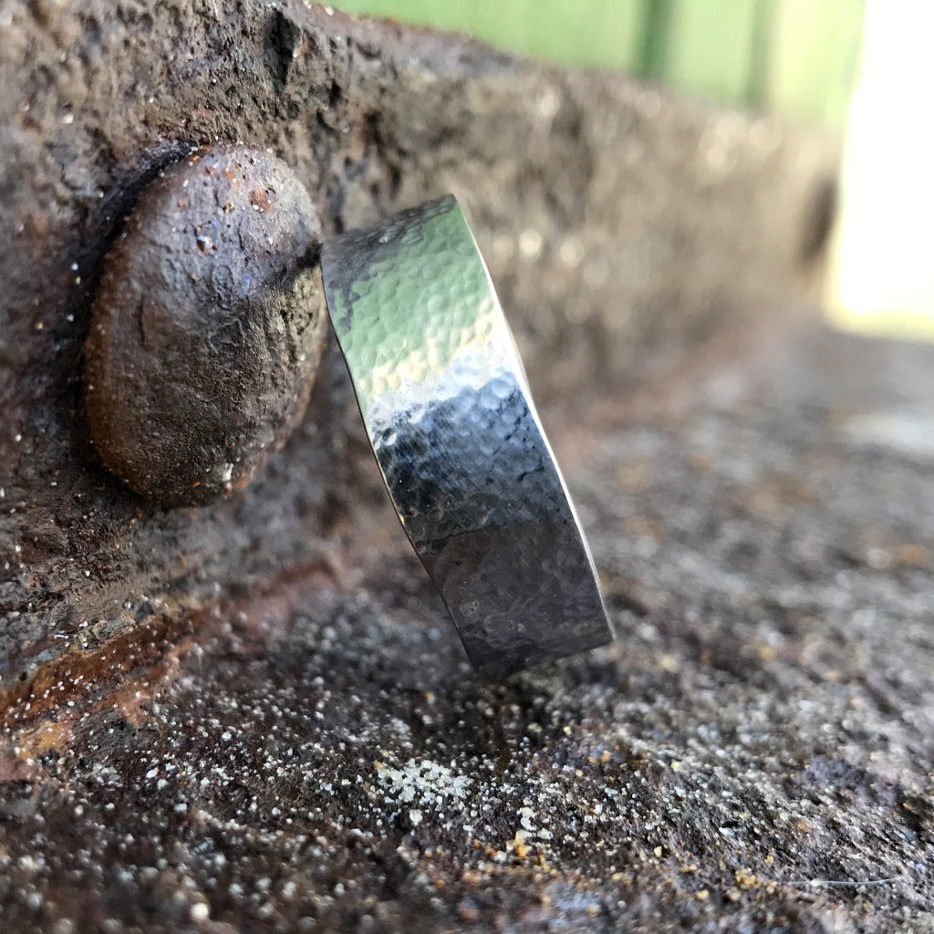 Mens Handcrafted White Gold Band